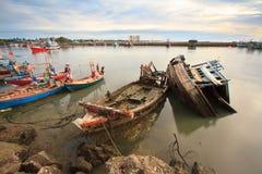 Fishing boat sank at petchaburi province ,Thailand Royalty Free Stock Photo