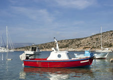 Fishing boat in Schinoussa island marina Royalty Free Stock Photos