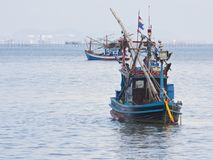 Fishing boat in the sea Stock Photos