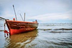 Fishing boat on sea. Background royalty free stock photos