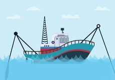 Fishing boat on the sea with blue ocean and flat style. Vector graphic illustration stock illustration