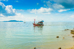 Fishing boat, sea and blue Sky in Kung Krabaen Bay Chathaburi. Province, Thailand Royalty Free Stock Images