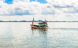 Fishing boat, sea and blue Sky in Kung Krabaen Bay Chathaburi. Province, Thailand stock images