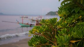 Fishing boat at the sea in blur. dawn. Fishing boat at the sea stock video footage