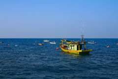 Fishing boat at sea. Fishing boats moored of the coast of Pulau Perhentian in Terengganu Stock Photos