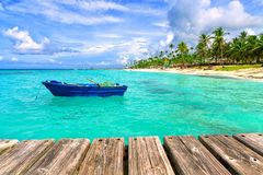 Fishing boat at the sea coast of the Dominican Republic. Stock Image