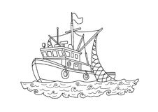 Fishing boat in the sea. Contour vector illustration for coloring book, isolated on white. Fishing boat in the sea. Contour vector illustration for coloring Royalty Free Stock Images