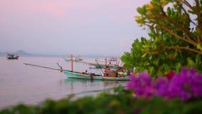 Fishing boat at the sea. dawn stock video