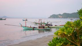 Fishing boat at the sea. dawn. Fishing boat at the sea stock video footage