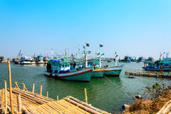 Fishing boat. On the sea in the early morning Royalty Free Stock Photos