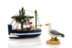 Fishing boat and sea gull Royalty Free Stock Photos