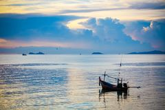 Fishing boat in sea on Koh Samui at amazing sunset Royalty Free Stock Image