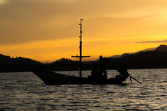 Fishing boat. On the sea in moning Royalty Free Stock Photos
