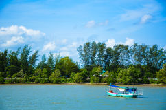 Fishing boat in  the sea. Fishing boat in the sea in the nice weather day in Thailand Stock Photo