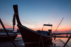 Fishing boat on sea silhouette Stock Photography