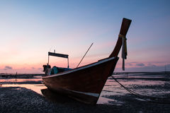 Fishing boat on sea silhouette Royalty Free Stock Image
