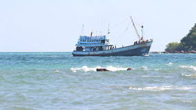 Fishing boat on the sea stock video footage