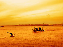 Fishing boat on sea during sunset Stock Photos