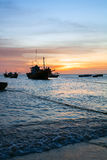 Fishing boat, sea, sunset Royalty Free Stock Photos