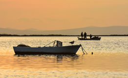 Fishing boat on the sea at sunset. There is a seagull on the boat. Royalty Free Stock Images