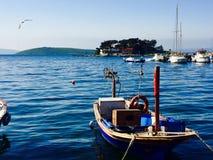 Fishing boat. On the sea towards Olive island in Erdek, Turkey stock image