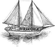 Fishing boat in the sea. Vector drawing of an old greek sailing boat stock illustration