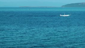 Fishing Boat in the Sea Water. Video stock video