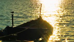 Fishing Boat in the Sea Water. Video stock video footage