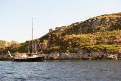 Fishing boat in the sea in Zakynthos. Beautiful Royalty free stock photo. Fishing boat in the sea in Zakynthos Stock Images