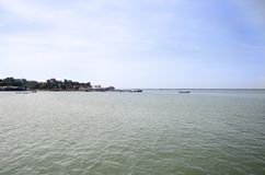Fishing boat and ship floating in the sea for waiting fishing in night time. At Ang Sila Fishing village and seafood Market on January 2, 2017 in Chonburi royalty free stock photos
