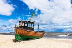 Fishing boat on shore of the Baltic Sea in Ahlbeck, Germany.  royalty free stock photo