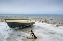 Fishing boat on the shore of the Baltic Sea Stock Photos