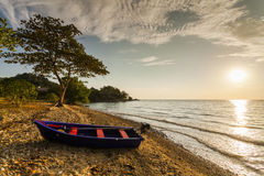 Fishing boat on the shore of a tropical island. Koh Chang. Royalty Free Stock Image