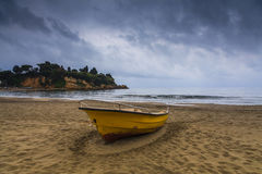 Fishing boat on the shore of a tropical island. Koh Chang. Stock Photos