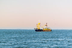 Fishing boat or shrimp trawler fishing on Waddensea, Netherlands Royalty Free Stock Photography