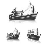 Fishing Boat. Side view on sea , vector illustration Royalty Free Stock Photos