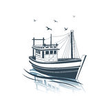 Fishing Boat. Side view on sea , vector illustration Stock Image