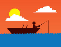 Fishing Boat Silhouette. On body of water Stock Images