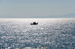 Fishing boat silhouette Royalty Free Stock Photos