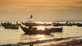 Fishing Boat Silhouettes in Sea Bay at Sunset in Vietnam stock video