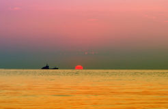 Fishing boat Silhouettes Stock Photo