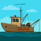 Fishing boat. Simple illustration, old style Royalty Free Stock Photography