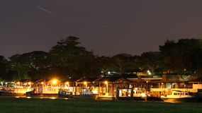 Fishing boat. Singapore Changi beach fishing and nightsky aircraft Royalty Free Stock Photos