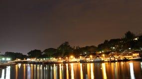 Fishing boat. Singapore Changi beach fishing and nightsky aircraft Stock Images