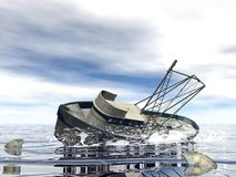 Fishing boat sinking - 3D render Stock Image