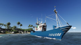 Fishing boat. Small blue fishing boat floating on the shore. Of the island, the sea on a clear day Stock Photography