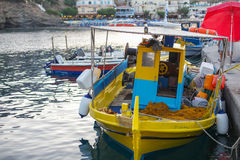 The fishing boat in the small port located in fish village Bali on Crete island in Greece. Stock Images