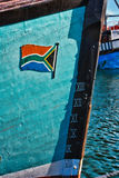 Boat with South African flag Royalty Free Stock Photography