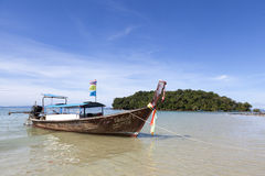 Fishing boat stands at the beach, after a night of tuna fishing. Thai national boat. Thailand Stock Images
