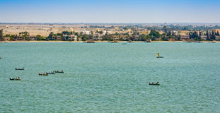 Fishing boat in Suez Canal, Egypt Royalty Free Stock Images
